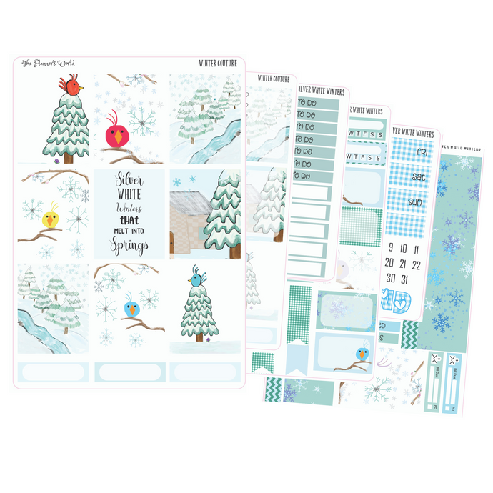 Silver White Winters weekly vertical Sticker Kit - winter kit