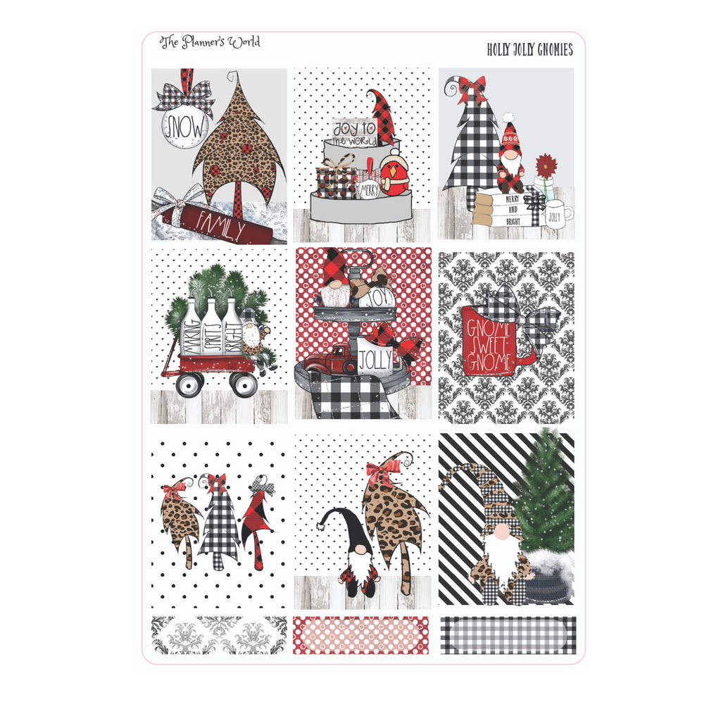 Holly Jolly Gnomes weekly vertical Sticker Kit - christmas - The Planner's World
