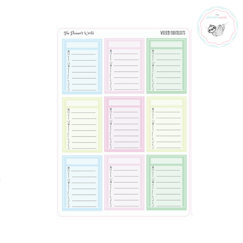 Pastel Weekly Checklist planner stickers - The Planner's World