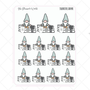 Thankful Gnome book stack Planner Stickers - The Planner's World