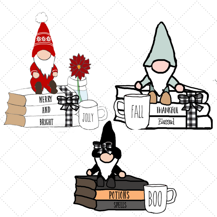 Gnome Book Stack Die Cut - holiday stickers - holiday die cuts - gnome stickers - The Planner's World