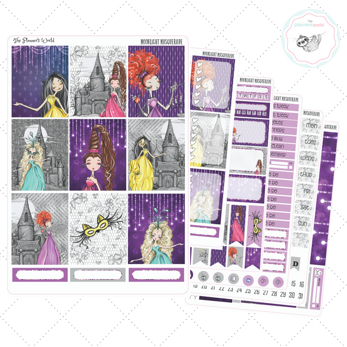 Moonlight Masquerade Weekly Vertical Sticker Kit - The Planner's World