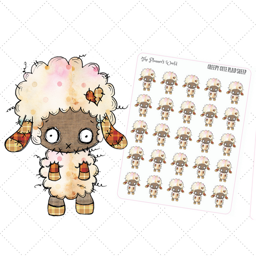 Creepy Cuties Plaid Sheep Stickers - The Planner's World