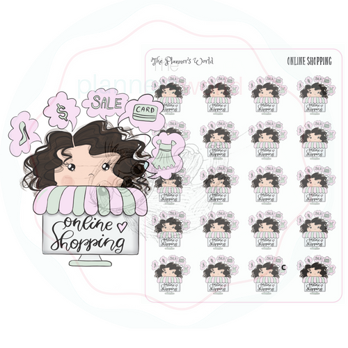 Online Shopping Girl  planner stickers - The Planner's World