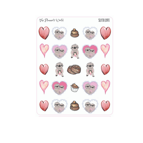 Sloth Love Date night stickers - cute sloth planner sticker - sloth sticker - candy stickers - heart stickers - The Planner's World