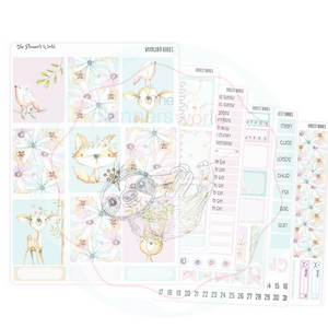 Forest Babies weekly vertical Sticker Kit - Forest animal sticker kit - The Planner's World