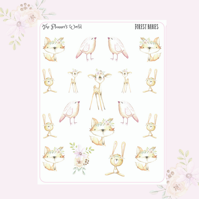 Forest Babies Deco stickers - Fox planner stickers - deer stickers - rabbit stickers - The Planner's World