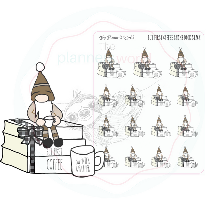 But First Coffee Gnome Book Stack Planner Stickers - The Planner's World