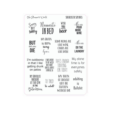 Snarcastic Saying planner stickers - The Planner's World