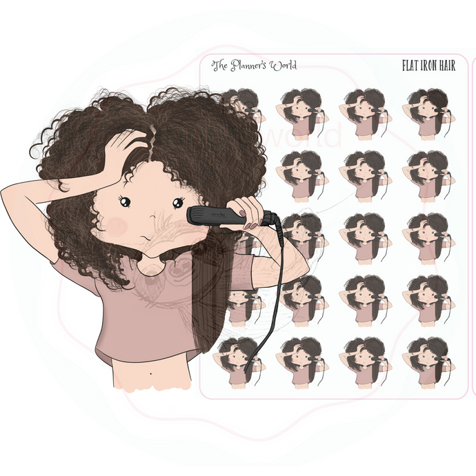 Flat Iron Hair planner stickers - The Planner's World