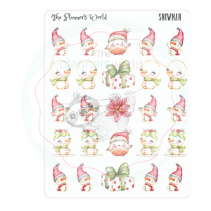 snowman planner stickers - snow people stickers - kawaii christmas - winter - The Planner's World