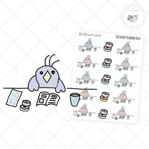 Office Planner Stickers - Featherbies Desk Stickers - work stickers - The Planner's World