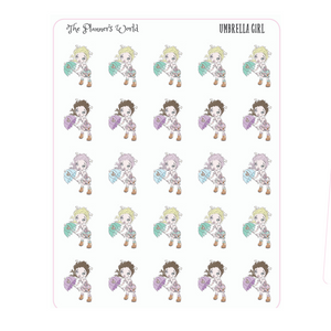 Umbrella Girl weather Planner Stickers - The Planner's World