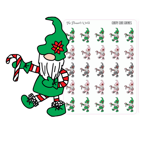 Cute Holiday Candy Cane Gnome Stickers - Kawaii Christmas Gnome Planner Stickers - hand drawn gnome planner stickers - The Planner's World