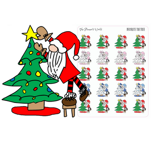 Decorate the Tree Gnome Stickers - Christmas Gnome Planner Stickers - The Planner's World