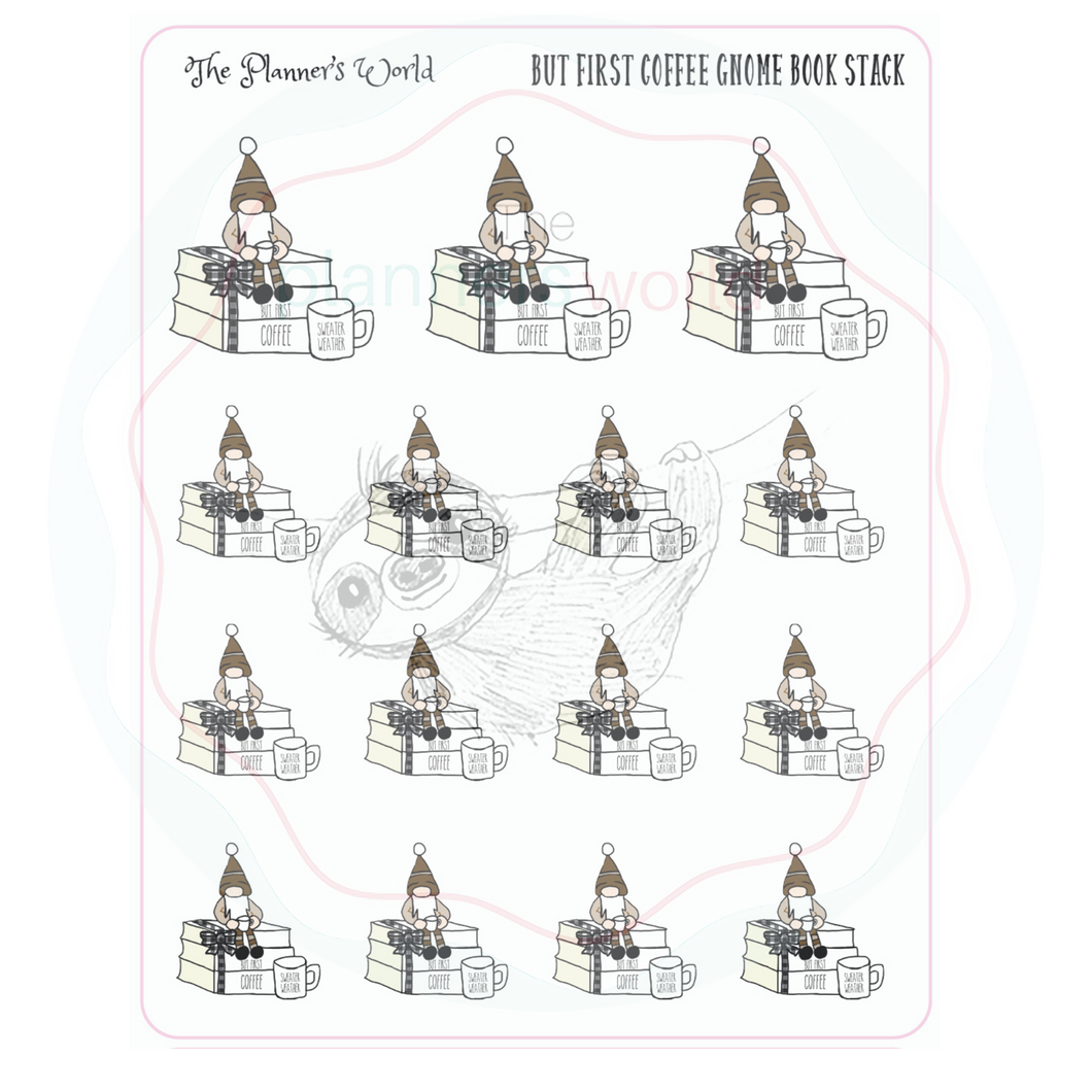 Coffee Gnome Book Stack Planner Stickers - The Planner's World