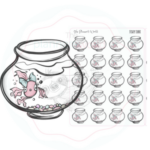 Fish stickers - fish doodle Sticker  - Fish Planner Stickers - Goldfish bowl stickers - The Planner's World