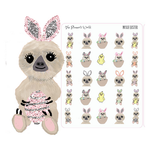 Cute Easter Planner Stickers - Easter Moxie the Sloth Stickers - The Planner's World