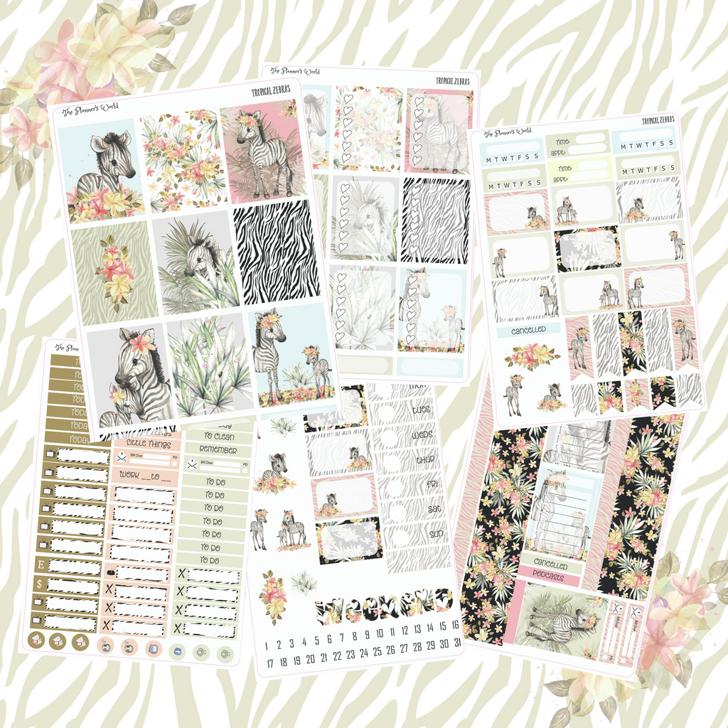 Baby Tropical Zebras weekly vertical Sticker Kit -Zebra Stickers - The Planner's World