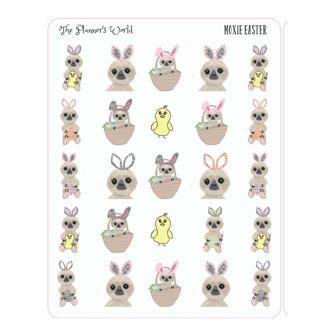Easter Planner Stickers -  Easter Moxie the Sloth Stickers - The Planner's World