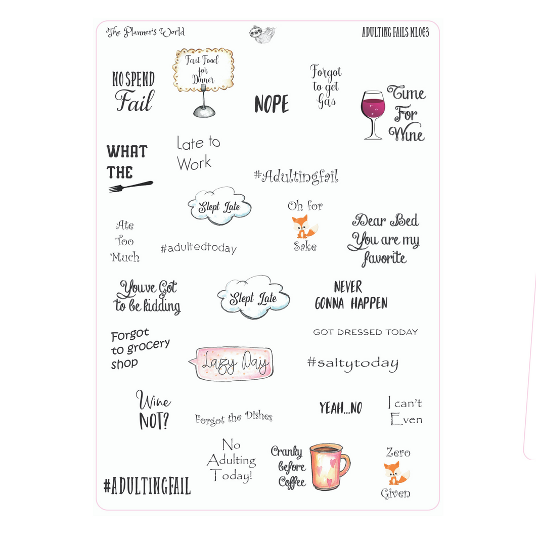 Sarcastic Funny Adulting Stickers - The Planner's World