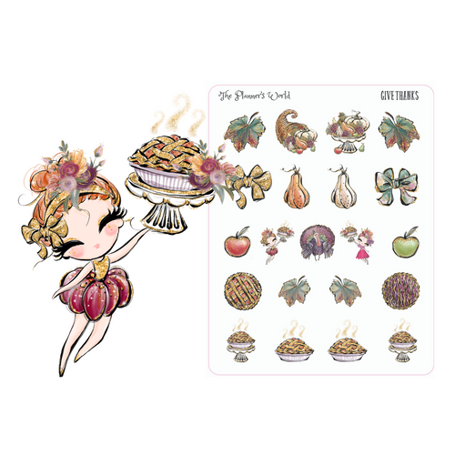 Give Thanks Thanksgiving Planner Stickers - The Planner's World