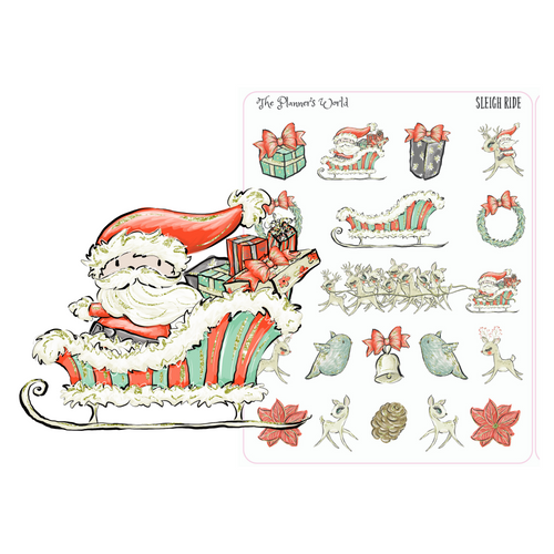 Sleigh ride planner stickers - santa planner stickers - The Planner's World