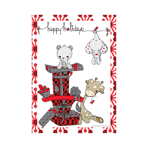 Happy Holidays Present Stack Dashboard featuring giraffe, elephant and teddy bear - The Planner's World