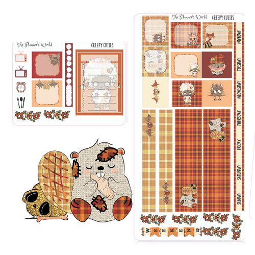 Hobonichi Weekly Planner Sticker Kit - Creepy Cuties Hobonichi Sticker kit - The Planner's World