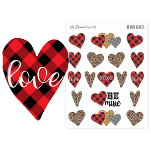 Be Mine Heart Planner Stickers - Leopard Hearts - Buffalo Plaid Hearts - Valentines Planner Stickers - The Planner's World