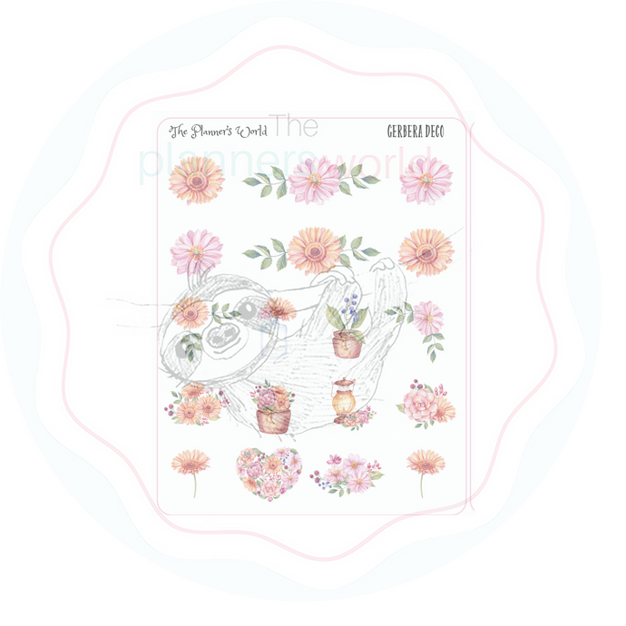 Gerbera Floral Deco  Planner Stickers - The Planner's World