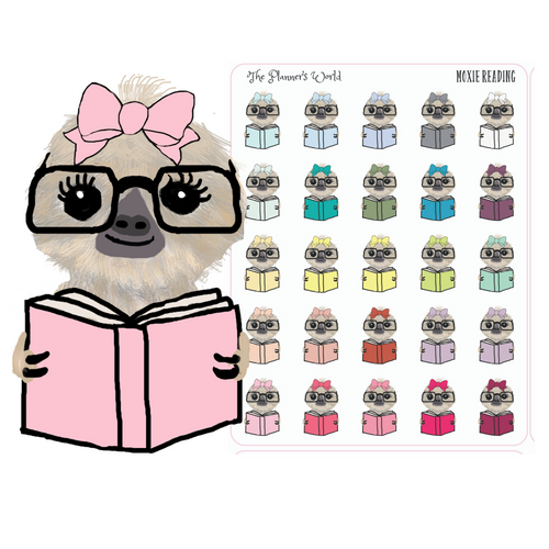 Moxie the Sloth Reading Stickers - Reading planner stickers - planner stickers - reading stickers - books - reading - The Planner's World
