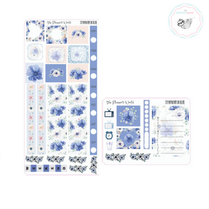 Hobonichi Weeks Sticker Kit - Planner Stickers - Hobo Weeks Blue Floral - The Planner's World
