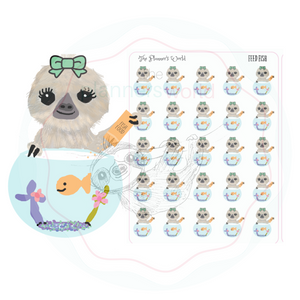 Feed the Fish stickers - fish doodle Sticker  - Moxie feeds the fish sloth stickers - The Planner's World