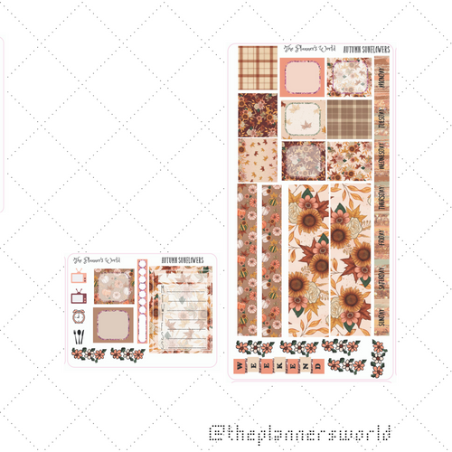 Autumn Sunflowers Hobonichi Sticker Kit - planner stickers  hobonichi - The Planner's World
