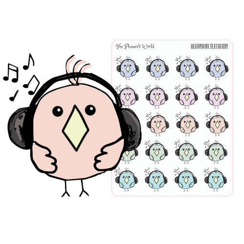 Featherby headphones planner sticker - music sticker - podcast stickers - training tracker - The Planner's World