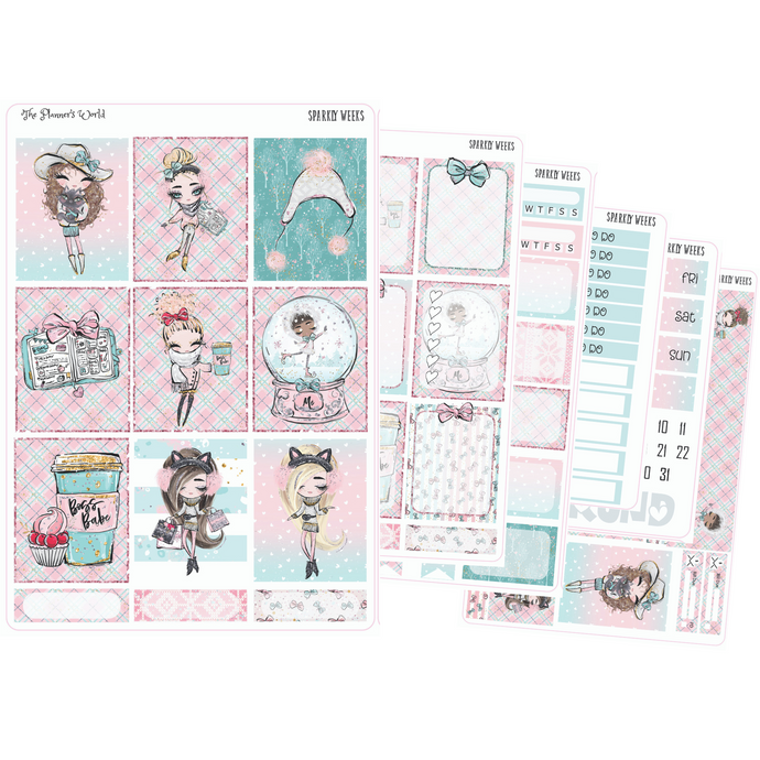Sparkly Weeks weekly vertical Sticker Kit - winter kit