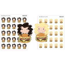Cute Burger Dinner Planner Stickers - The Planner's World