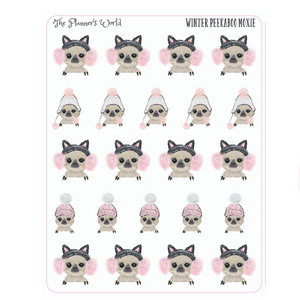 Winter peekaboo Moxie the sloth stickers - The Planner's World