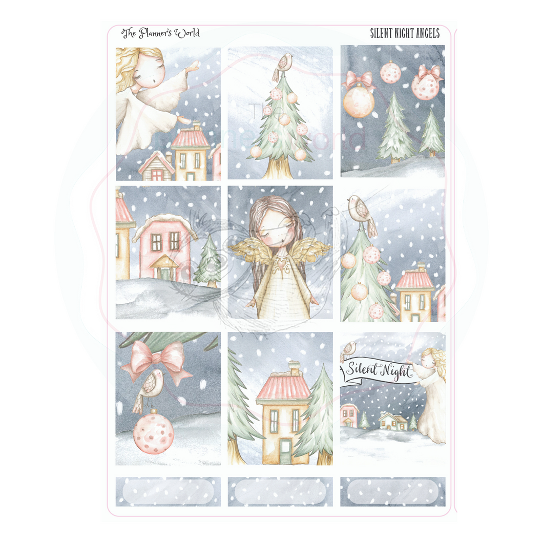 Silent Night weekly vertical Sticker Kit - christmas stickers - The Planner's World