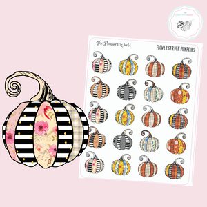 Farmhouse Flower Garden Pumpkin Planner Stickers - The Planner's World