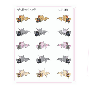 Creepy Cuties Camera Bat Planner Stickers - bat sticker - The Planner's World