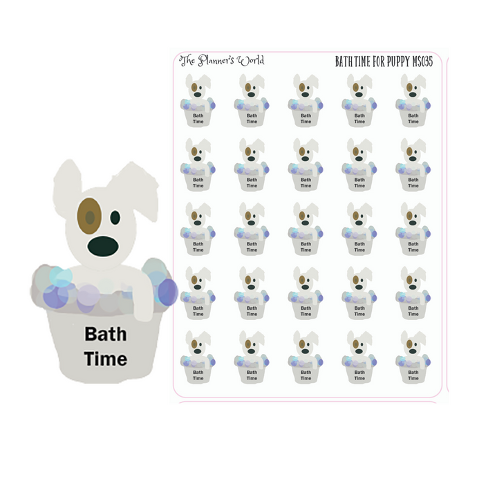 Bath Time For Puppy planner Stickers - The Planner's World