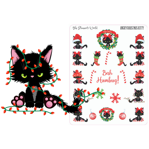 Angry Christmas Cat planner Stickers