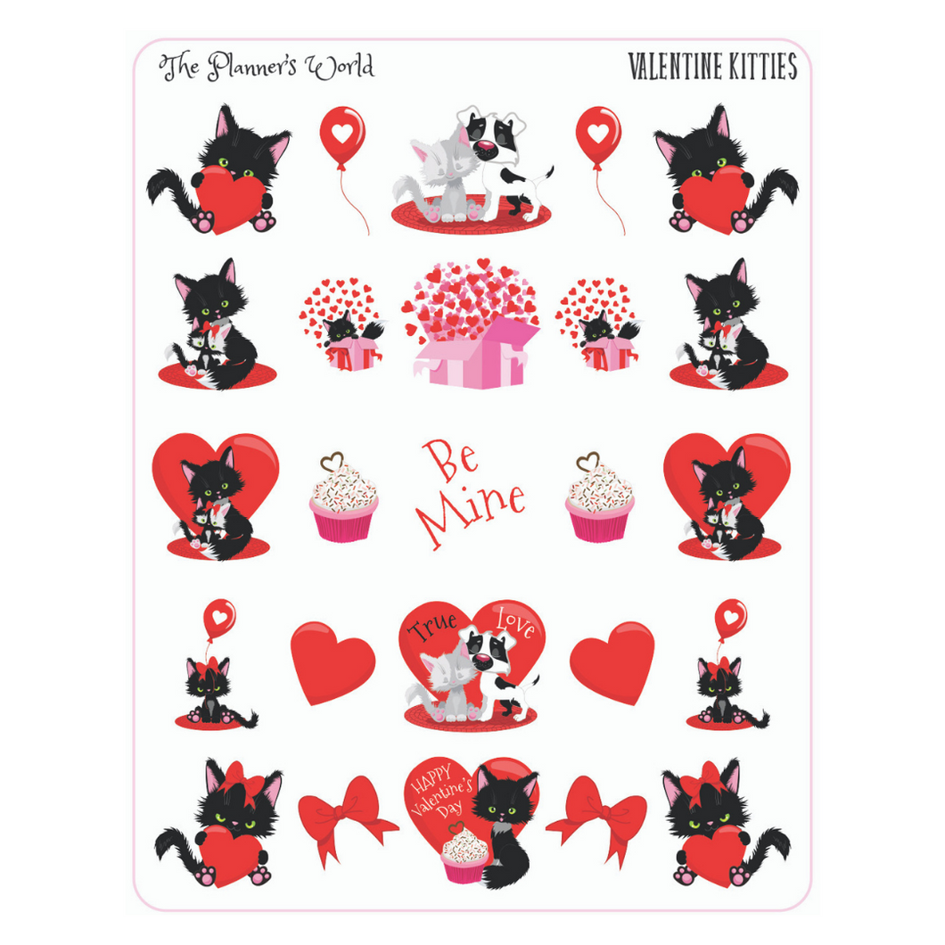 Kitty Valentines Planner Stickers