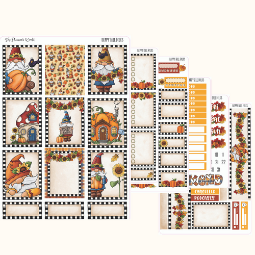 Happy Fall Folks  Gnome  Deluxe Weekly Planner Stickers