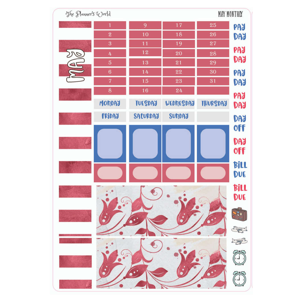 May Monthly Hobonichi Sticker Kit - The Planner's World