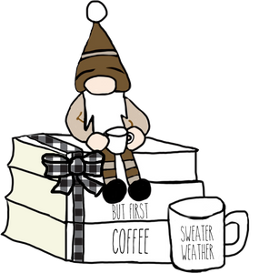 But First Coffee Gnome Book Stack Die Cut - The Planner's World