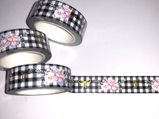 GOLD FOIL BOW FLORAL FARMHOUSE PLAID WASHI TAPE