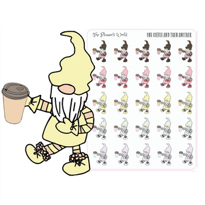 One Coffee After Another - Coffee Gnome Stickers - The Planner's World